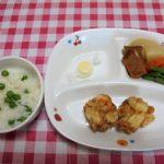 グリンピースご飯・大豆と干しエビのかき揚げ・煮物・チーズ
