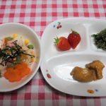 ちらし寿司・鶏肉の照り焼き・お浸し・いちご