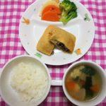 ごはん・納豆のはさみ焼き・ゆでやさい・鶏と大根のスープ