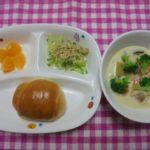パン・さつま芋のミルクスープ・カリカリじゃこサラダ・オレンジ